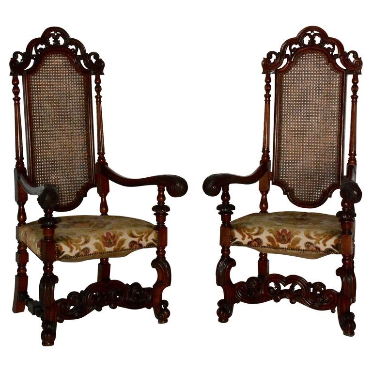Pair Of Spanish Baroque High Back Chairs For Sale