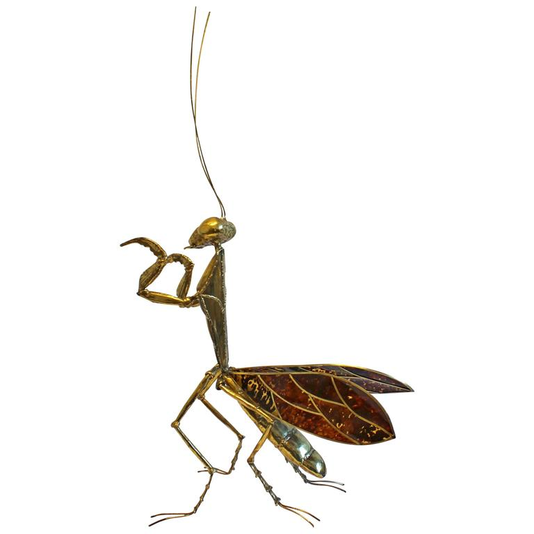 Praying Mantis Brass Sculpture by Jacques Duval Brasseur, 1970s