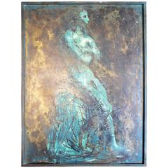 Male Nude Philip and Kelvin LaVerne Bronze and Pewter Wall Plaque