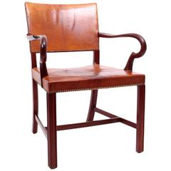 Exceptional Armchair by Jacob Hermann with Niger Leather and Mahogany, 1930s