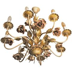 Painted Tole Chandelier with Roses Eight Lights, Mid-Century