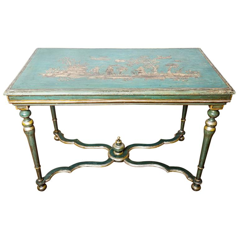 This 18th century italian polychromed table with chinoiseries is no