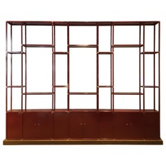 Bookcase Laquered Metal and Brass ,1970s