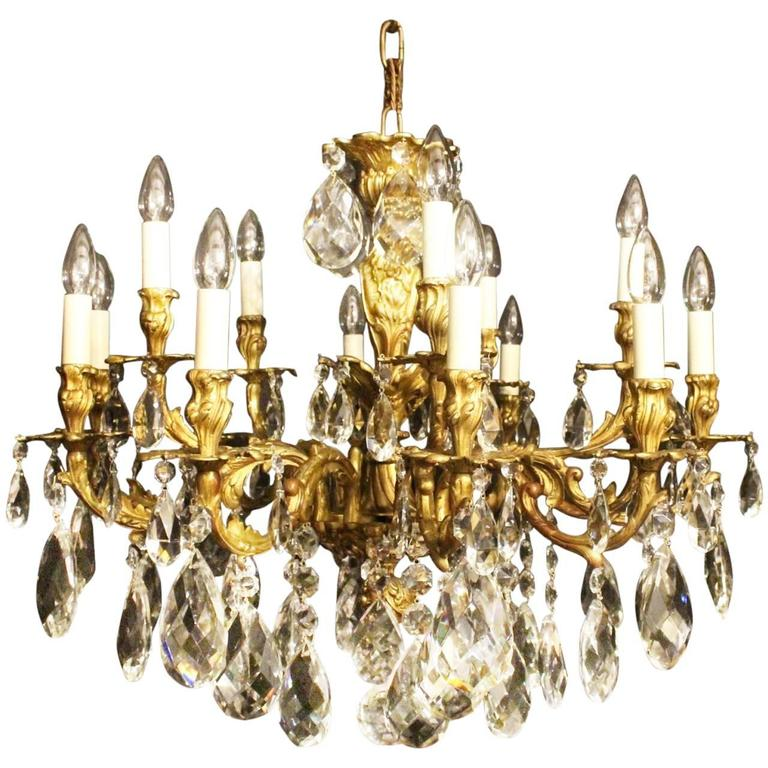 Italian Gilded Bronze And Crystal Antique Chandelier For
