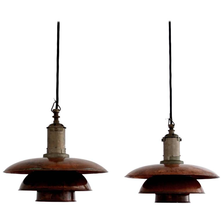 Poul Henningsen - Pair of PH 3/3 Copper Pendant