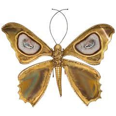 Impressive Butterfly Sconce by Henri Fernandez, Atelier Jacques Duval-Brasseur