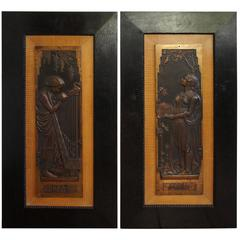 Amazing and Signed Pair of Bronzed Jugendstil Plaques in Alphonse Mucha Style