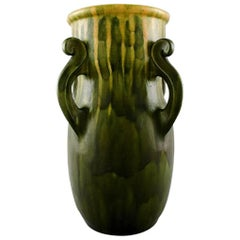 KäHler, Denmark, Glazed Stoneware Vase with Handles, 1920s