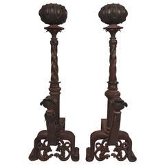 19th Century Pair of Italian Iron and Bronze Andirons