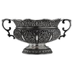 Antique Rare Indian Cutch Oomersi Mawji Solid Silver Bowl, circa 1880