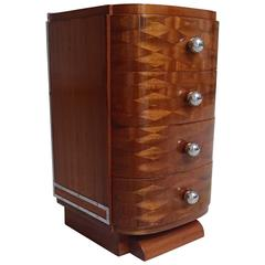 Art Deco Small Side Cabinet Chest of Four-Drawers Mahogany Chrome Buttons
