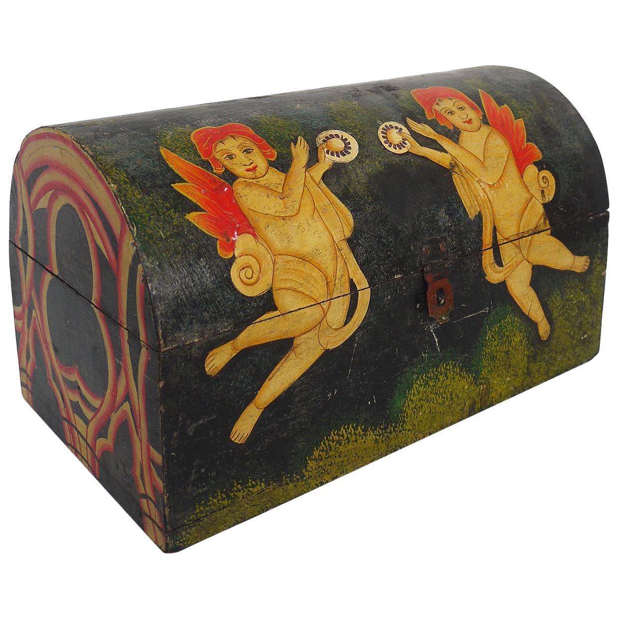 European 19th Century Painted Wooden Dome Top Box Folk Art