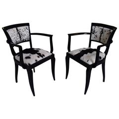 Pair of Art Deco Side Chairs Black Recovered with Black and White Goat Skin