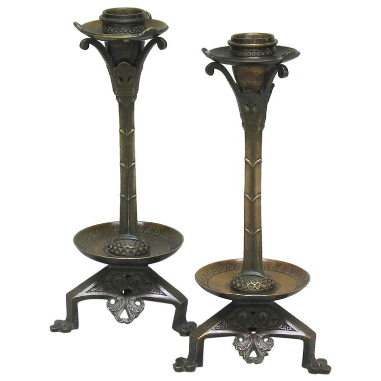 Pair of Neo-Gothic Bronze Candlesticks, Done in the Manner of A. W. N. Pugin