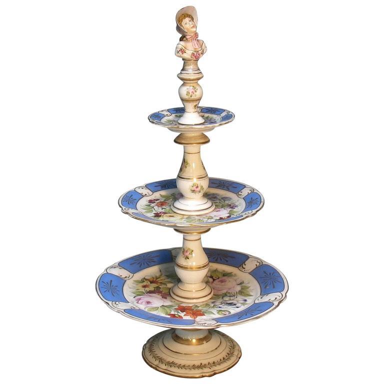 Rare Paris Figural Porcelain Three-Tier Dessert Tazza, circa 1850 For Sale
