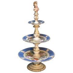 Rare Paris Figural Porcelain Three-Tier Dessert Tazza, circa 1850