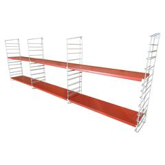 1960s Rare White Laddes Orange Modular Tomado Wall Unit Designed by A. Dekker