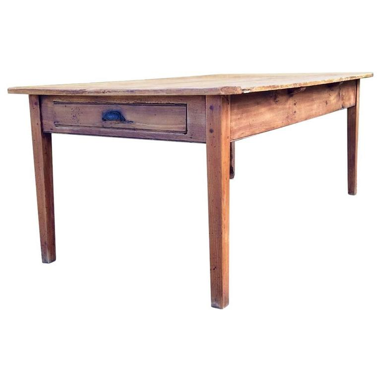 French Farmhouse Pine Kitchen Table Rustic at 1stdibs