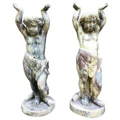 Pair of English Lead Putti