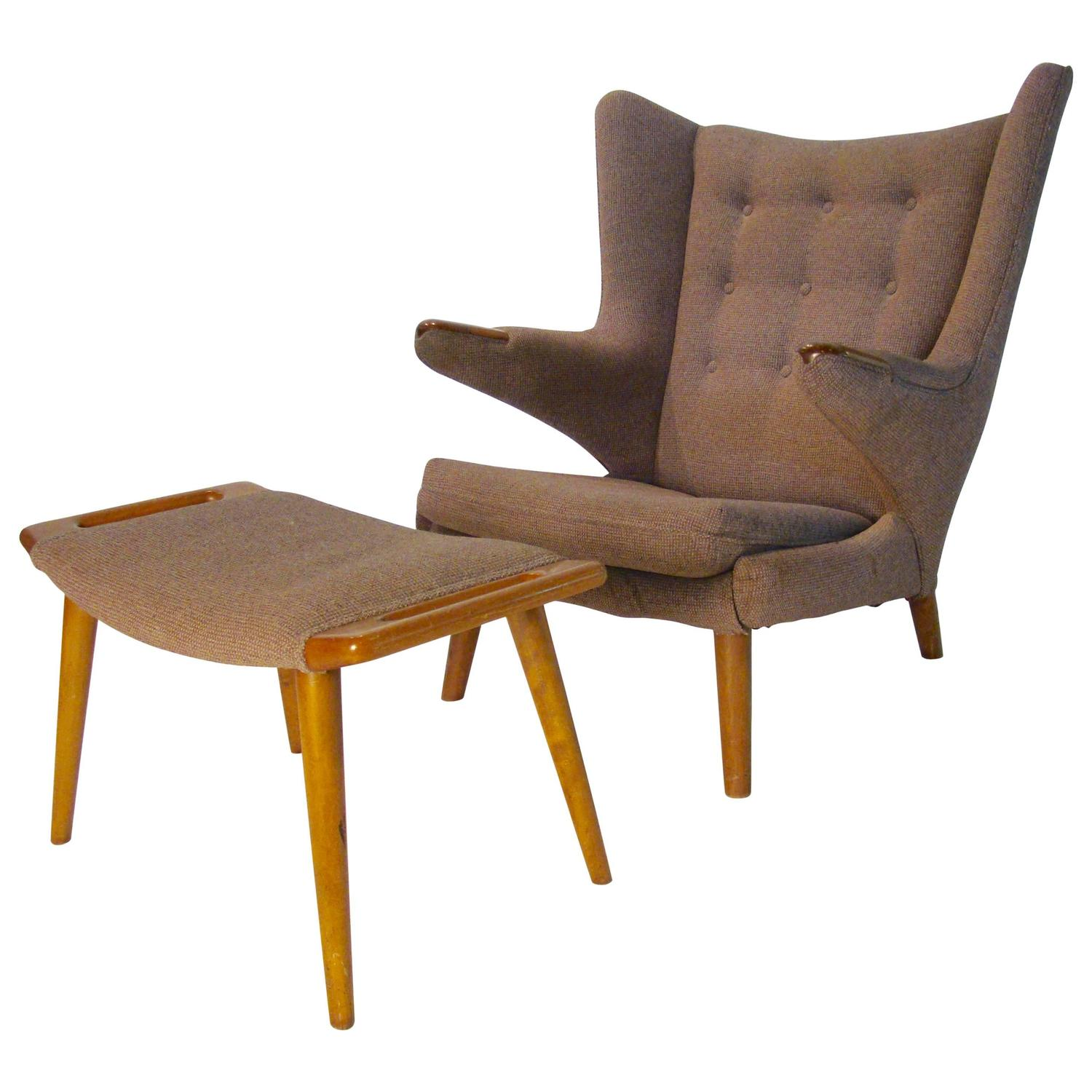 Iconic papa bear chair and ottoman by hans wegner for ap Iconic chair and ottoman