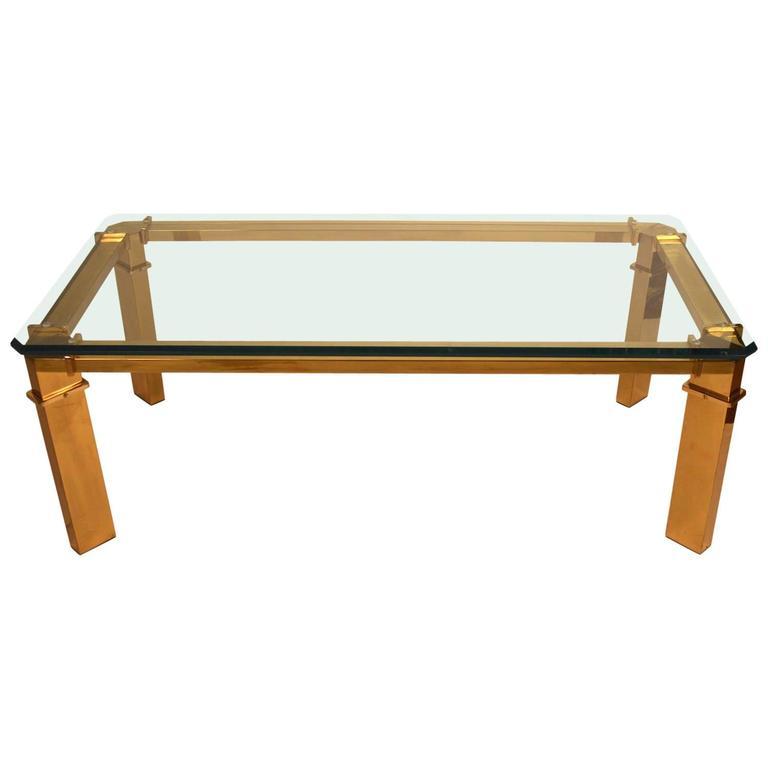 Brass Base Mastercraft Glass Top Coffee Table
