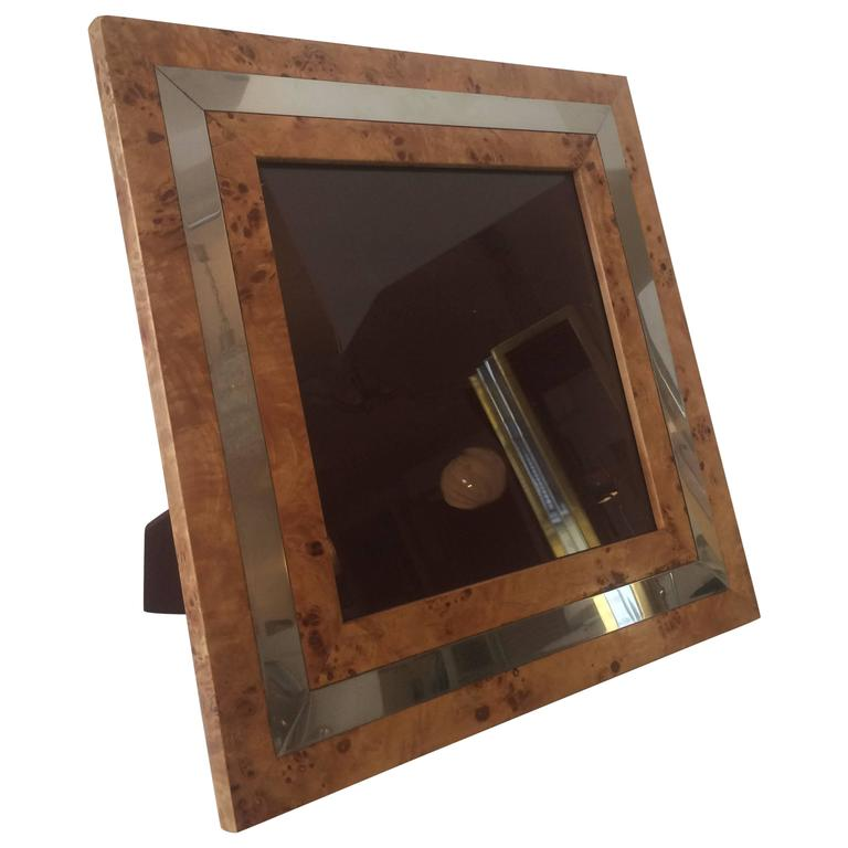 1970s Burl Wood and Chrome Picture Frame