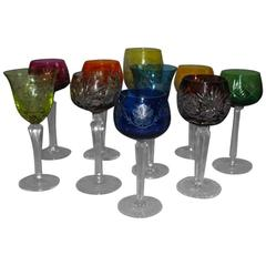 Lot of Ten Different Bohemian Crystal Wine Goblets/Glasses