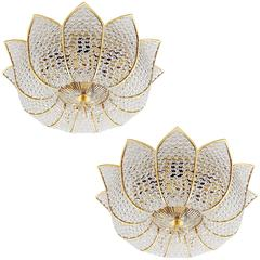 Two Palwa Flush Mount Lights, Gilt Brass Crystal Glass, 1970