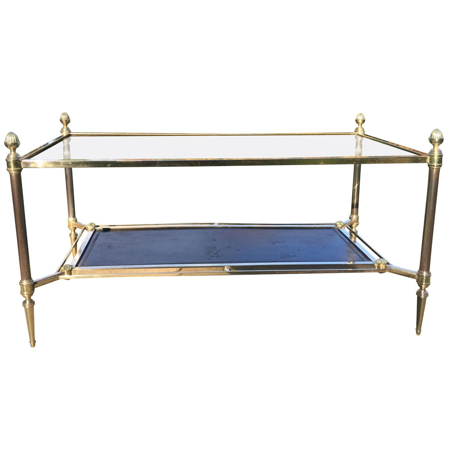 Maison Jansen Neoclassical Glass Top Coffee Table For Sale