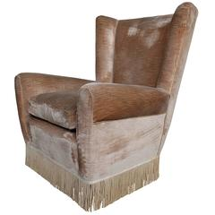 Mid-Century Italian Wingback Armchair in the Style of Paolo Buffa from the 1960s