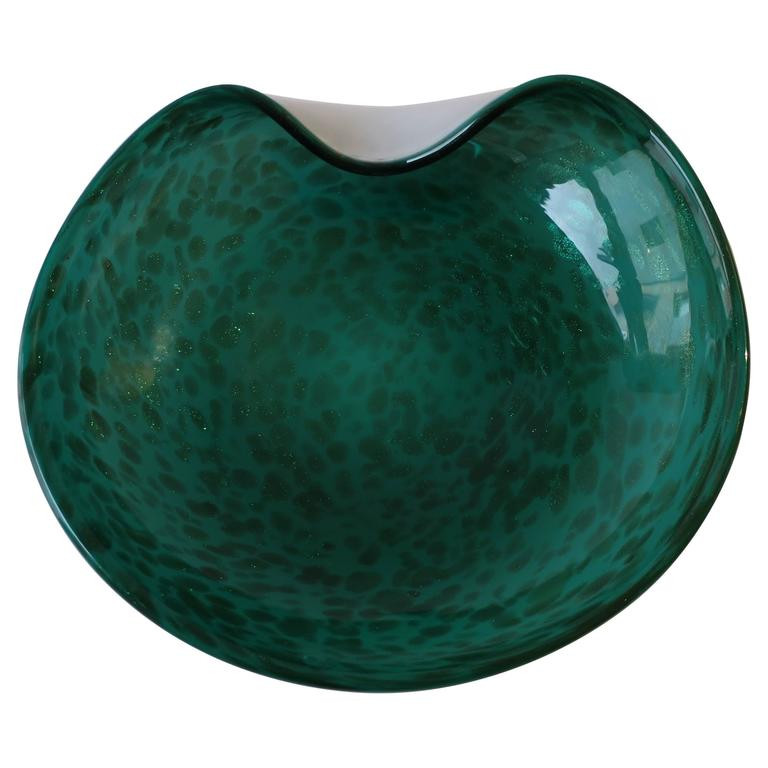 Beautiful Vintage Italian Murano Emerald Green Art Glass