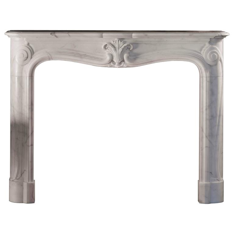 18th Century Reproduction Louis XV Mantel in Statuary Marble