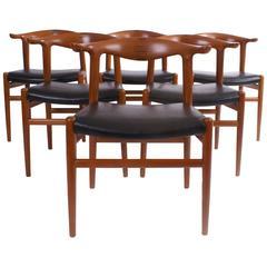 Hans Wegner Set of Six 'Cow Horn' Chairs for Johannes Hansen