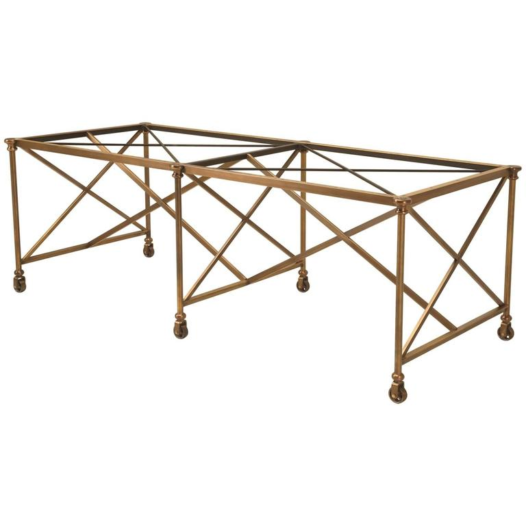 French Inspired Industrial Style Brass Kitchen Island Made to Order