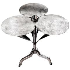 Early/Mid-Century French Polished Steel Flower Gueridon Table