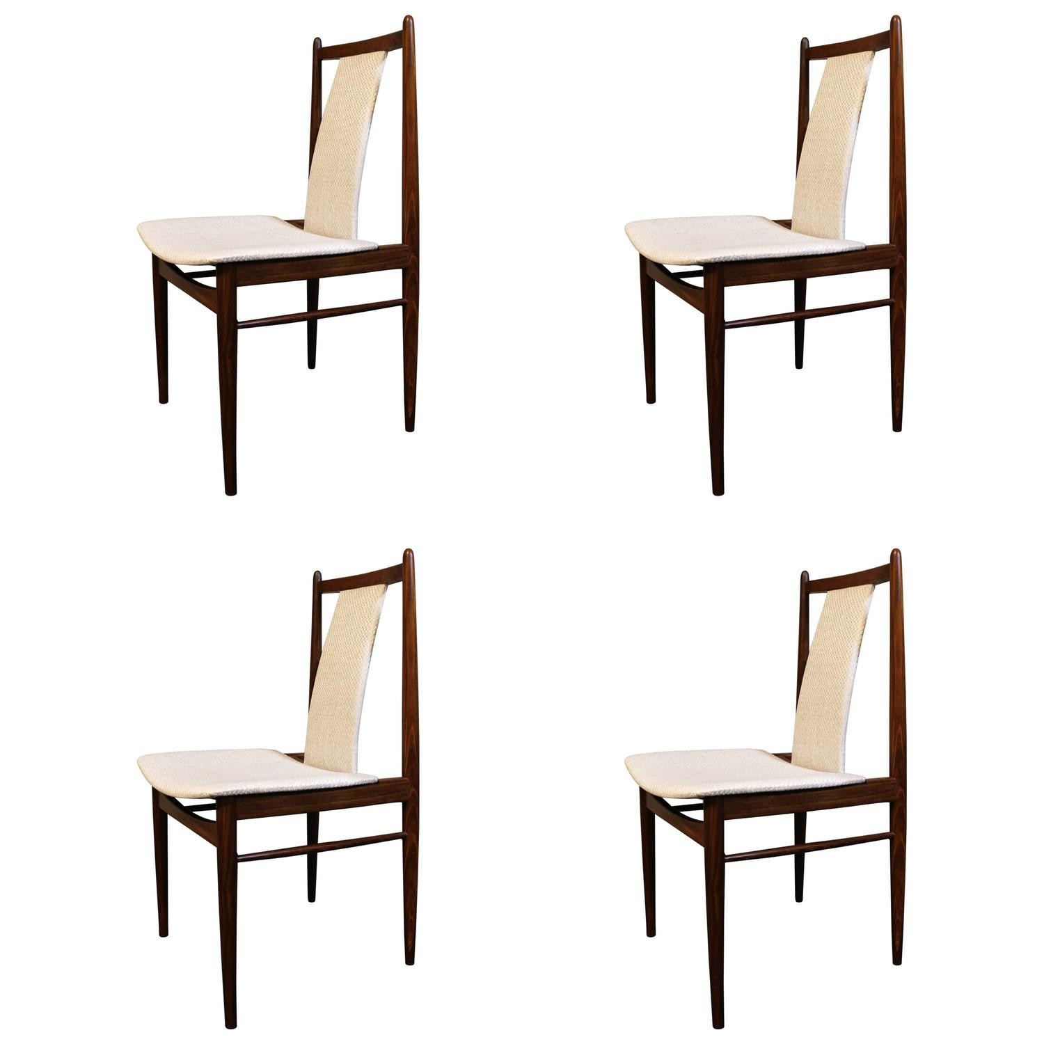 Four High Back Danish Teak Dining Chairs For Sale At 1stdibs