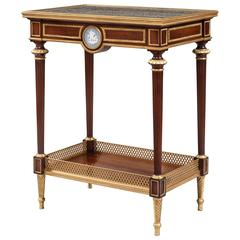 French 19th Century Mahogany and Gilt Table with Plaque in the Wedgwood Manner