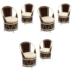 Set of Six French Mid-Century Painted Tole Cafe Chairs