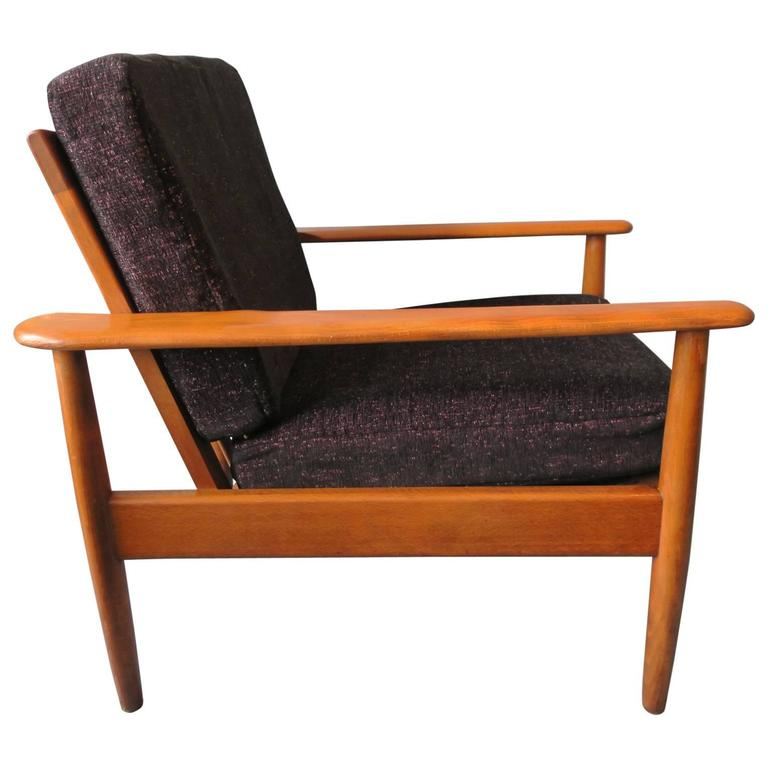 Danish Teak Lounge Chair With Speckled Cushions Mid Century For Sale At 1stdibs