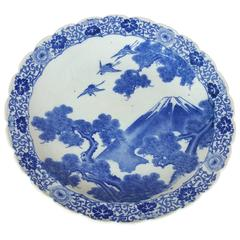 Late 19th Century Large Japanese Blue and White Pottery Charger