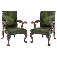 Pair of Mahogany and Green Leather Library Chairs in the Georgian Style