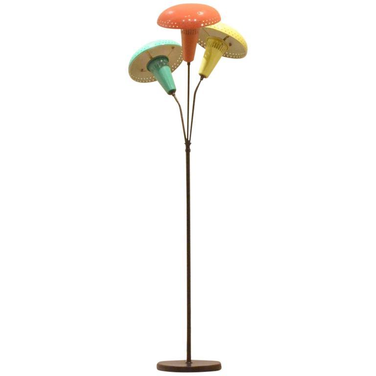 1950s Italian Design Stilnovo Style Tricolor Metal Mushroom Shaded Floor Lamp