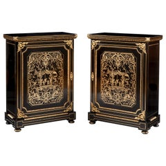 Pair of French Ebonized and Brass Side Cabinets, 19th Century
