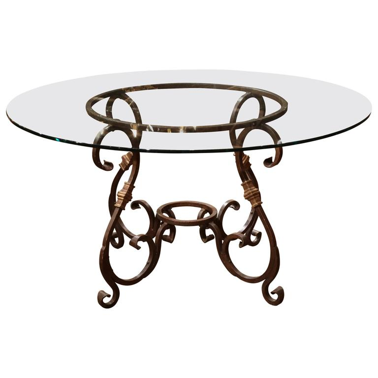 Merveilleux Wrought Iron French Table Base With Round Glass Top For Sale