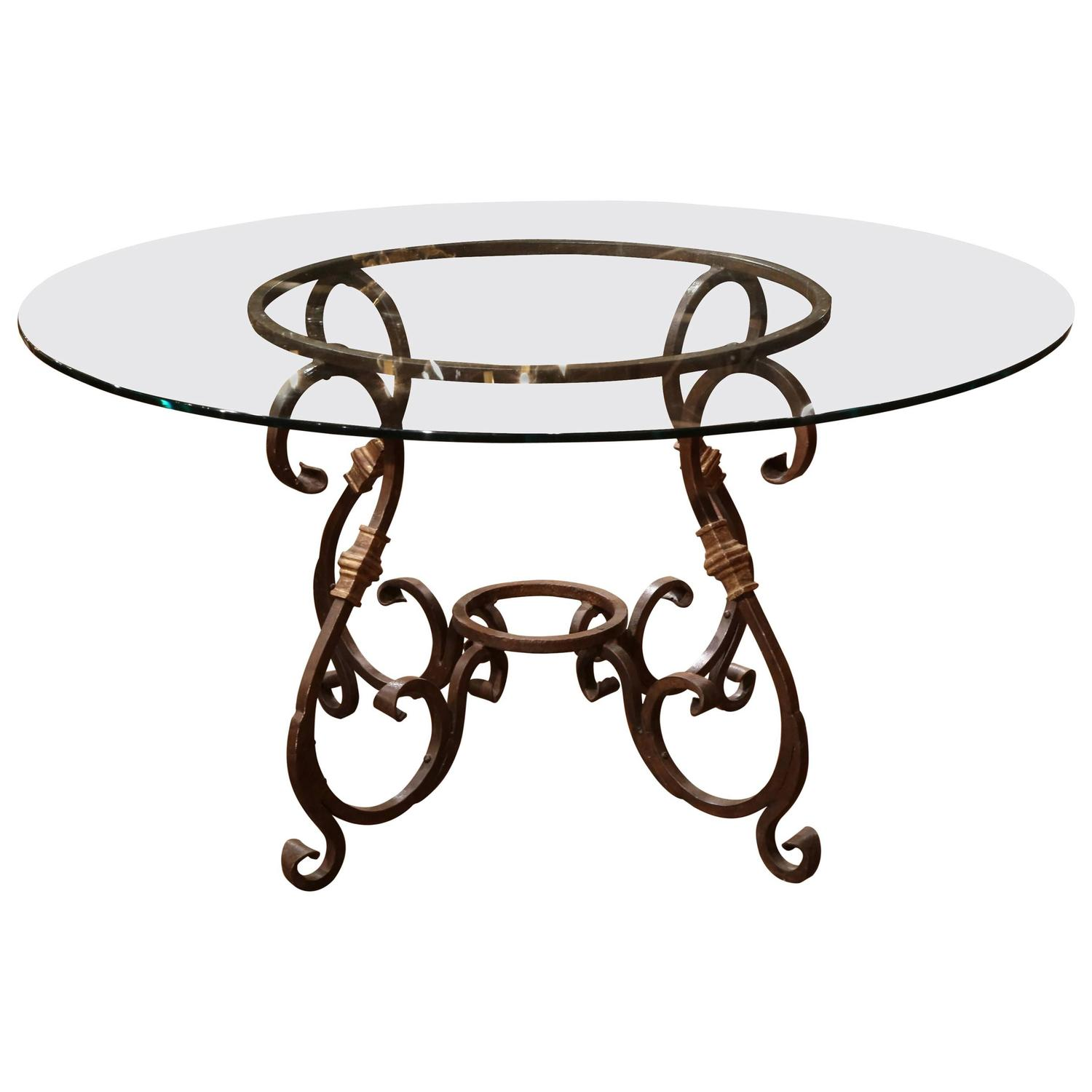 Wrought Iron French Table Base With Round Glass Top For Sale At 1stdibs