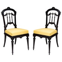 Pair of Solid Ebony Side Chairs