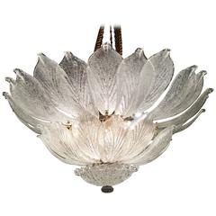 Large Murano leave  Chandelier,  1990s