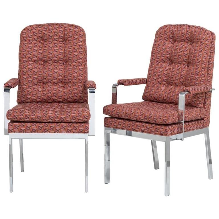 Pair of Milo Baughman Designed Nickel Framed Carver Chairs For Sale