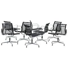 Set of Eight Vitra Office Swivel Chairs EA 108, Charles & Ray Eames Chrome