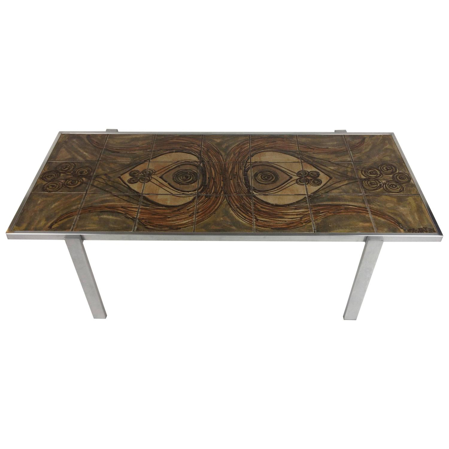 Incredible Rare Danish Modern Ox Art Tile and Metal Coffee Table